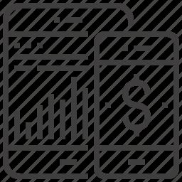 bank, banking, chart, data, internet, mobile, money icon