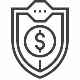 defense, insurance, money, protection, safety, security, shield icon
