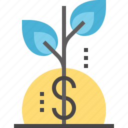 finance, flower, growth, investment, money, plant, success icon