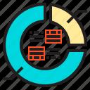 analytics, circle, diagram, graph, static icon