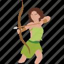 greek, hunt, goddess, archer, artemis, huntress, archery icon