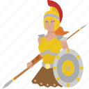 female, warrior, goddess, woman, athena, greek, tribal warrior icon