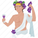dionysus, drinking, god, orgy, party, toga, wine icon