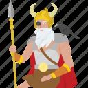 allfather, god, king, norse, odin, viking, warrior
