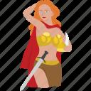 warrior, queen, freya, goddess, woman, norse, tribal warrior icon