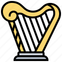 greece, harp, instrument, lyre, music icon