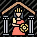 historic, goddess, greece, parthenon, temple icon
