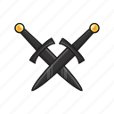 ancient, crossed, daggers, melee, weapon icon