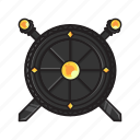 crossed, melee, shield, swords, weapon icon