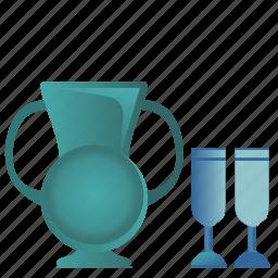 ancient, glasses, jug, rome, wine icon