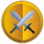 blade, coin, fight, medal, sign, war icon