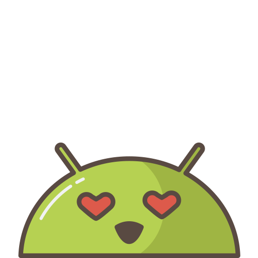android, emoji, love, lovely, mobile, mood, robot icon