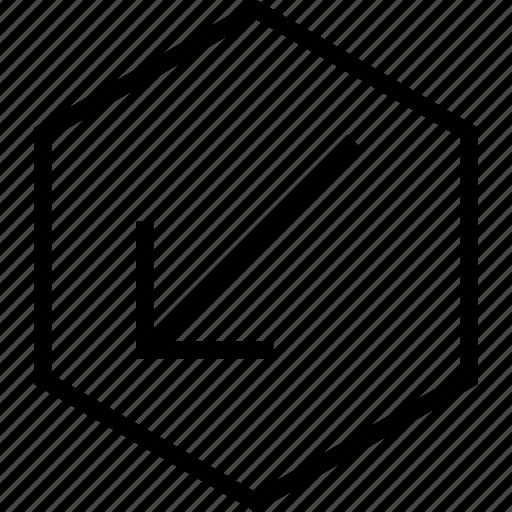 arrow, bottom, direction, left, move icon