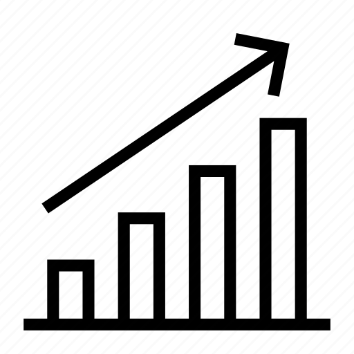analytics, arrow, bar chart, business, increase, report, statistic icon