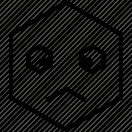 avatar, emoji, emotion, face, sad, unsure icon