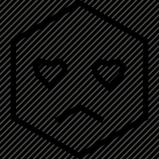 avatar, emoji, emotion, face, love, sad, unsure icon