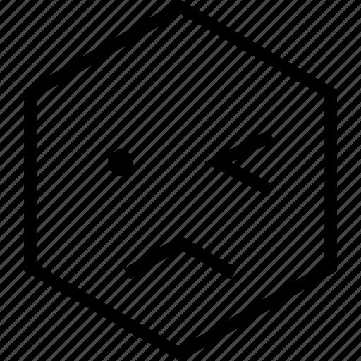 avatar, emoji, emotion, face, sad, unsure, wink icon