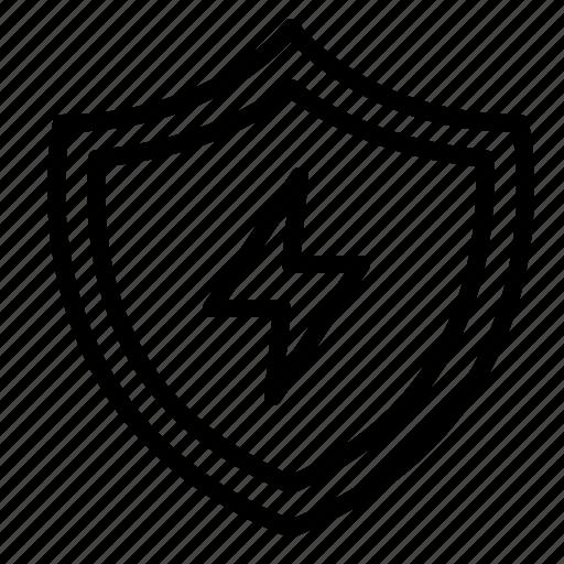 aniacon, bolt, lightning, security, shield, stroke icon