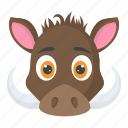 animal face, boar face, boar head, pig head, wild animal icon