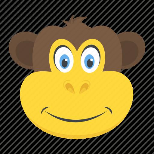 baboon face, chimpanzee, gorilla, monkey, zoo animal icon