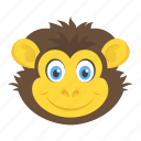baboon face, chimpanzee, gorilla, monkey, zoo animal icon