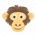 chimpanzee, gorilla, macaque, monkey face, zoo animal icon