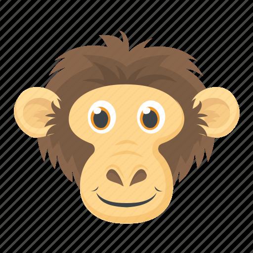 Chimpanzee, gorilla, macaque, monkey face, zoo animal icon - Download on Iconfinder