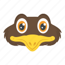 bird face, cartoon character, chick, chicken face, funny bird icon