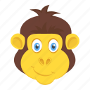 animal, chimpanzee face, happy gorilla, monkey, wildlife icon