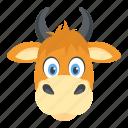buffalo head, bull, cow, domestic animal, livestock icon