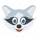 face, forest life, head, raccoon, wild animal icon