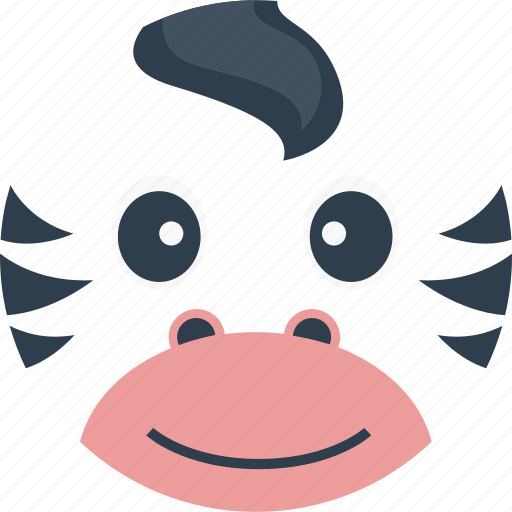 animal, avatar, cartoon, face, forest, the zoo, zebra horse icon