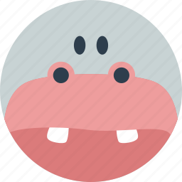 animal, cartoon, face, forest, hippo, the zoo icon