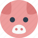 animal, cartoon, face, pet, pig, smile icon