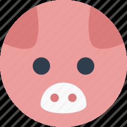 animal, cartoon, face, pet, pig, smile icon