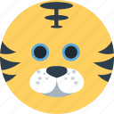 animal, cartoon, face, forest, the zoo, tiger icon