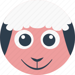 animal, cartoon, face, pet, sheep icon