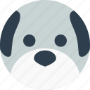 animal, avatar, cartoon, dog, face, pet, smile icon