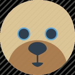 animal, bear, cartoon, face, honey, smile icon