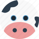 animal, cartoon, dairy cows, face, milk, pet, smile icon