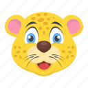 baby leopard, beast head, cartoon leopard, wild animal, wildlife icon