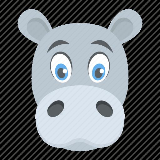 animal, hippo head, hippopotamus, wildlife, zoo animal icon