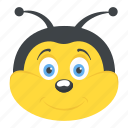 fly, cartoon bee face, insect, honey bee, smiling bumblebee icon