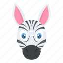 mammals, safari animal, wildlife, zebra face, zoo animal icon