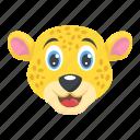 baby leopard, beast head, cartoon leopard, wild animal, wildlife