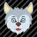 cartoon white fox, husky dog, snow wolf, werewolf, wild animal, wildlife icon