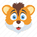 animal, cartoon character, lion face, tiger, wildlife icon