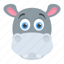 animal, hippo head, hippopotamus, wildlife, zoo animal icon