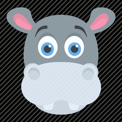 Animal, hippo head, hippopotamus, wildlife, zoo animal icon - Download on Iconfinder