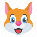 pet, domestic animal, cat face, cartoon character, kitten icon